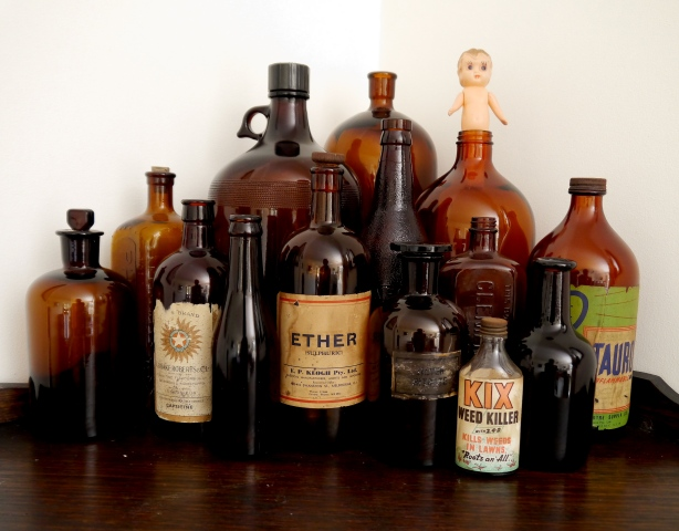 A collection of vintage glass bottles
