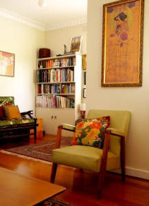 Looking into our 'reading nook'. Charles Rennie Mackintosh print above mid-century chair