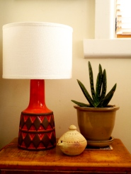 Danish ceramic lamp and Indian pottery