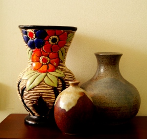 A collection of vases; the vase on the left was made in Japan and bought in Tanunda, South Australia